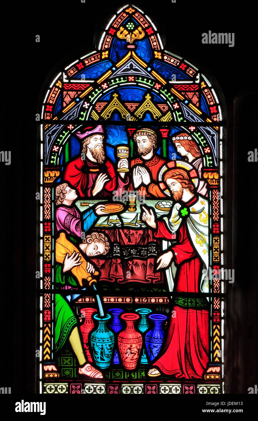 Life of Jesus, Marriage Feast at Cana, Christ turns water into wine, stained glass window by Frederick Preedy, 1865, - Stock Image