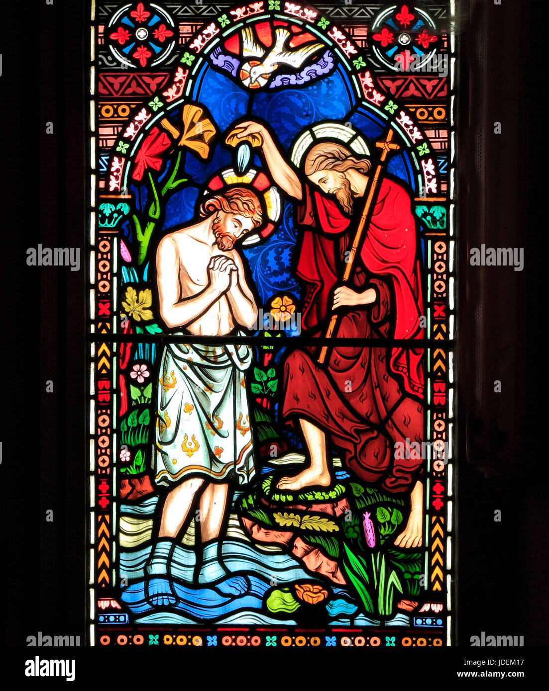 Life of Jesus, Baptism by John the Baptist, in River Jordan, stained glass window by Frederick Preedy, 1865, Gunthorpe, - Stock Image