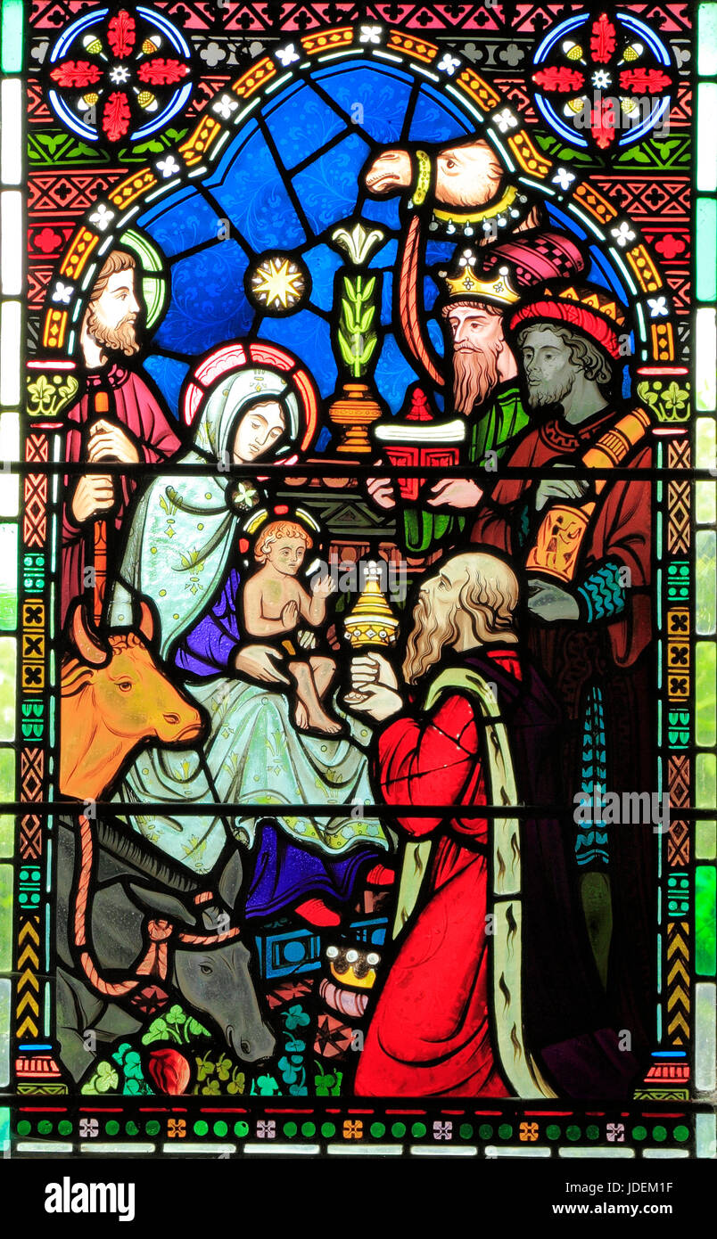 Adoration of the Magi, Three Kings visit Mary, Joseph, baby Jesus, stained glass window by Frederick Preedy, 1865, - Stock Image