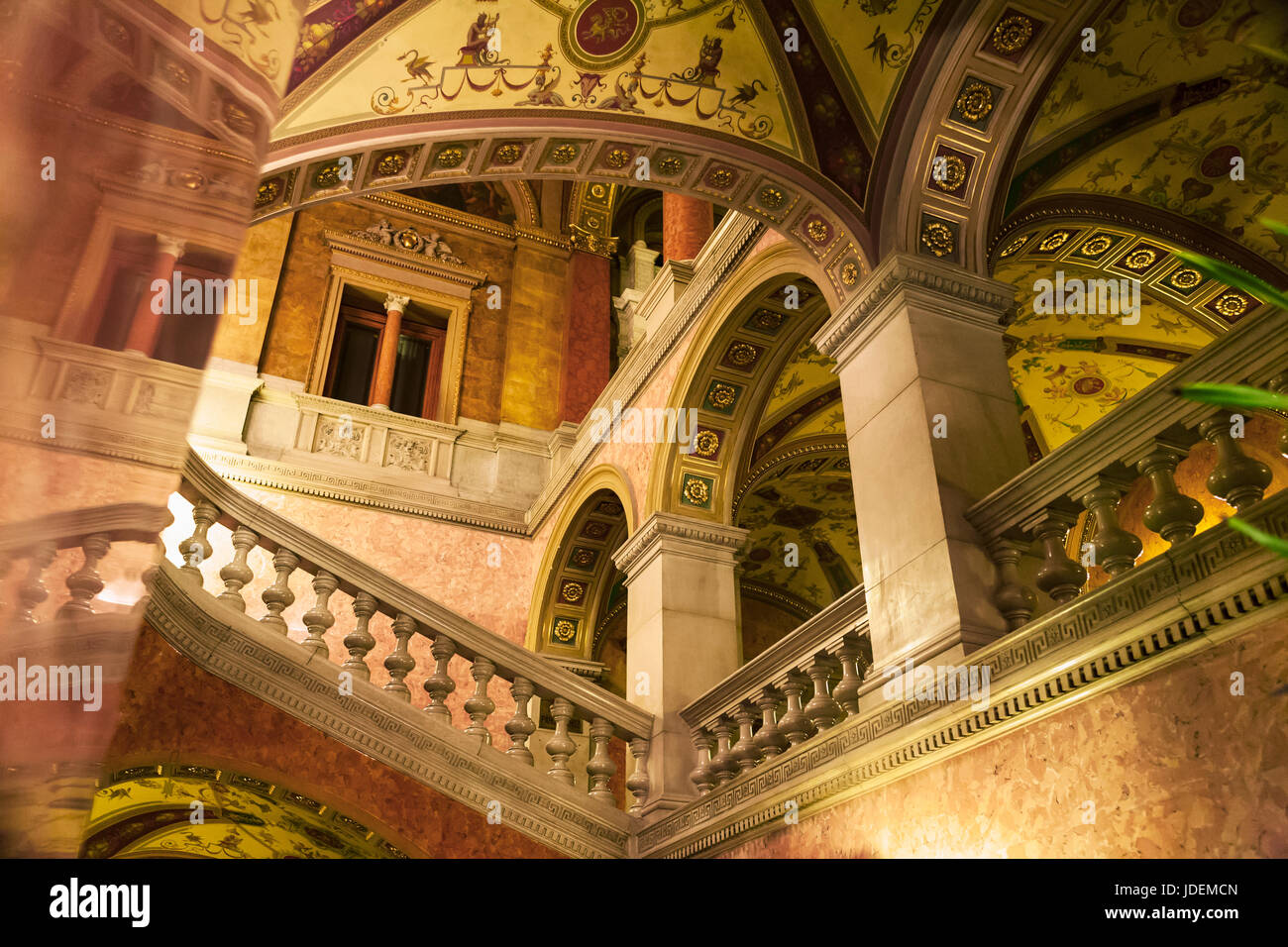 The Hungarian State Opera House, Andrássy útca, Terézváros, Budapest, Hungary: marble staircase - Stock Image