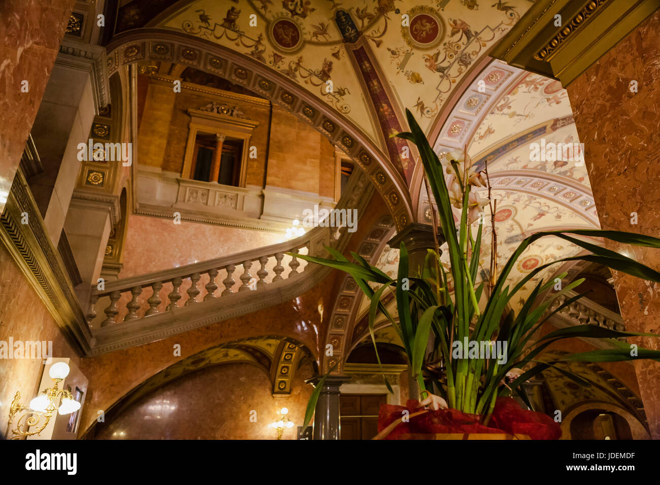 Foyer of the Hungarian State Opera House, Andrássy útca, Terézváros, Budapest, Hungary: marble - Stock Image