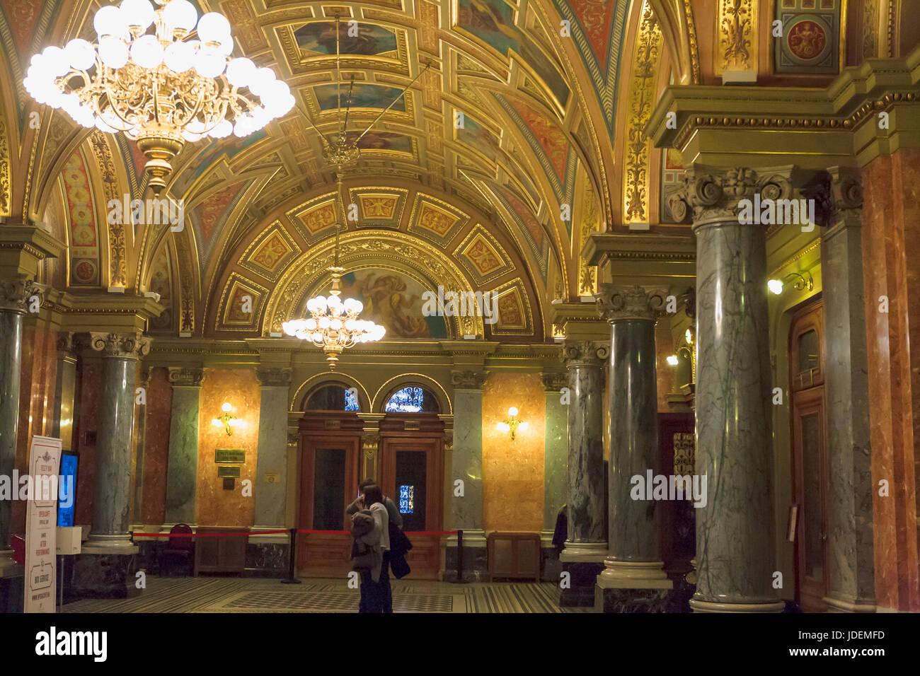 Foyer of the Hungarian State Opera House, Andrássy útca, Terézváros, Budapest, Hungary - Stock Image