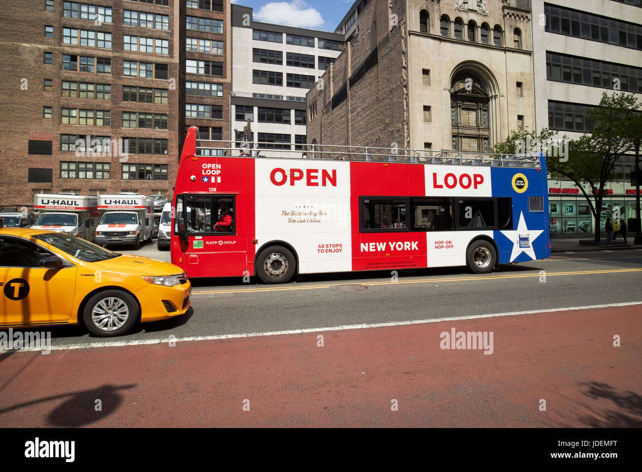 open loop guided tour double deck bus New York City USA - Stock Image