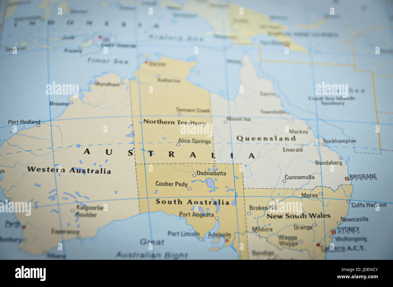 Australia in close up on the map focus on the name of country stock australia in close up on the map focus on the name of country gumiabroncs Images