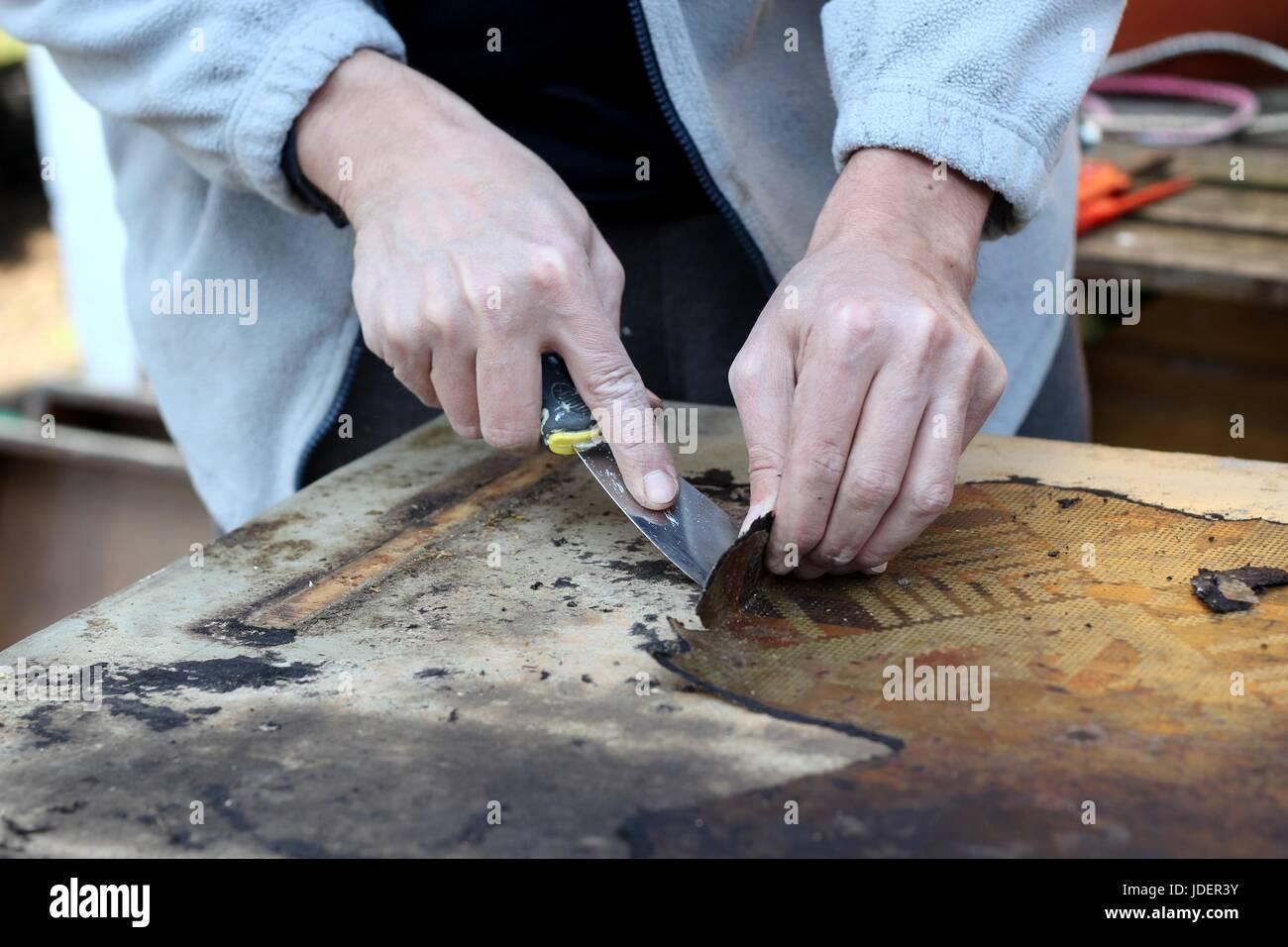 furniture restoration - Stock Image