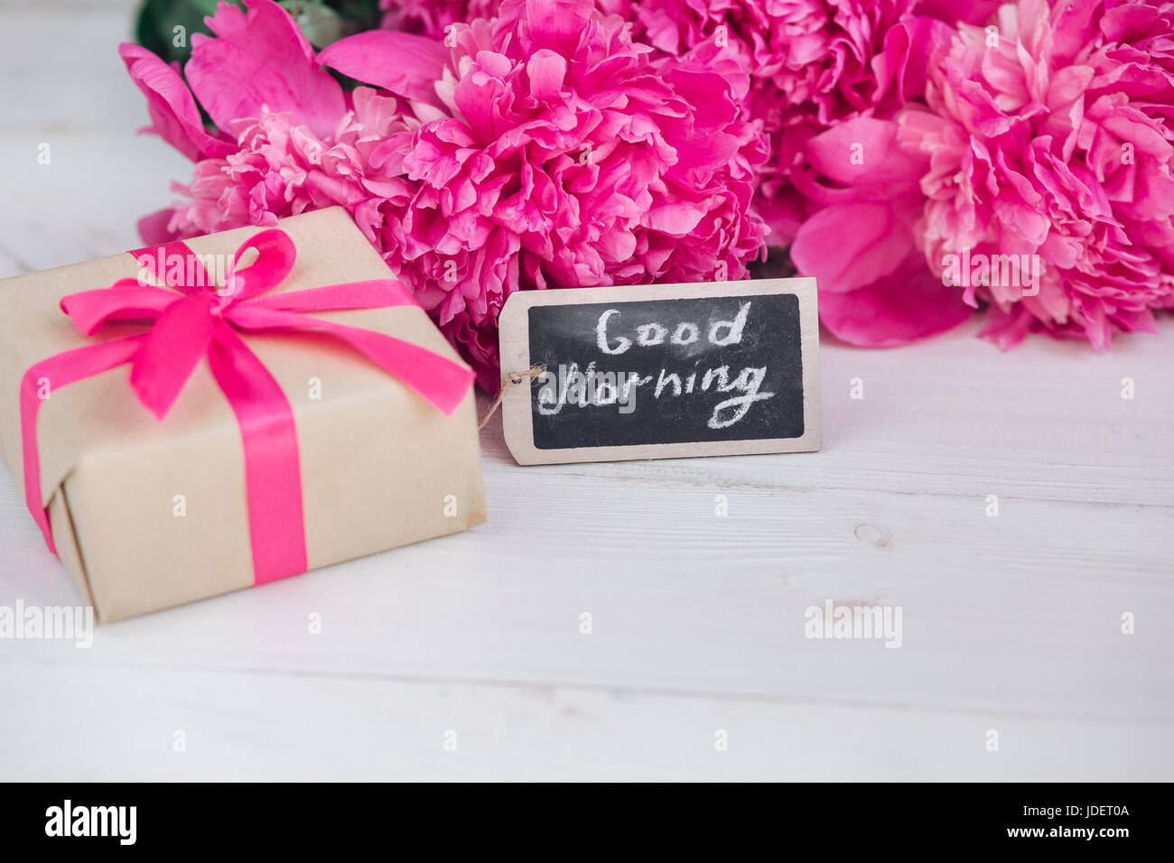 Pink Peony Flowersgift Box And Notes Good Morning On White Rustic