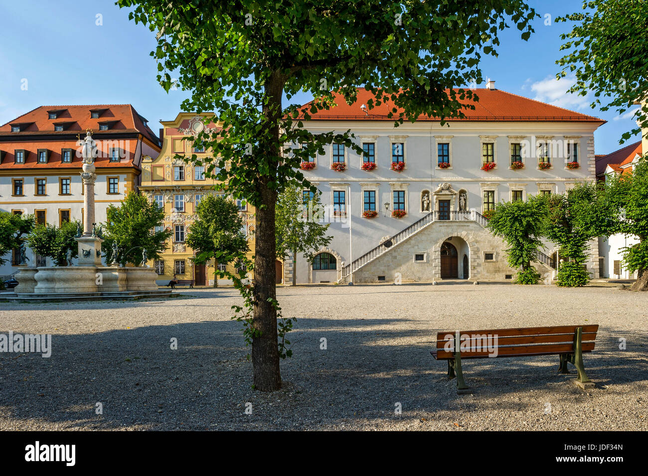 Zieglerhaus, Marien fountain, aristocratic town house Thurn- and Taxishaus, Town Hall, Karls square, Neuburg on - Stock Image