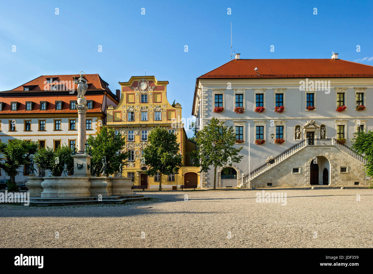 Zieglerhaus, Marienbrunnen, aristocratic town house Thurn- and Taxishaus, Town Hall, Karls square, Neuburg on the - Stock Image