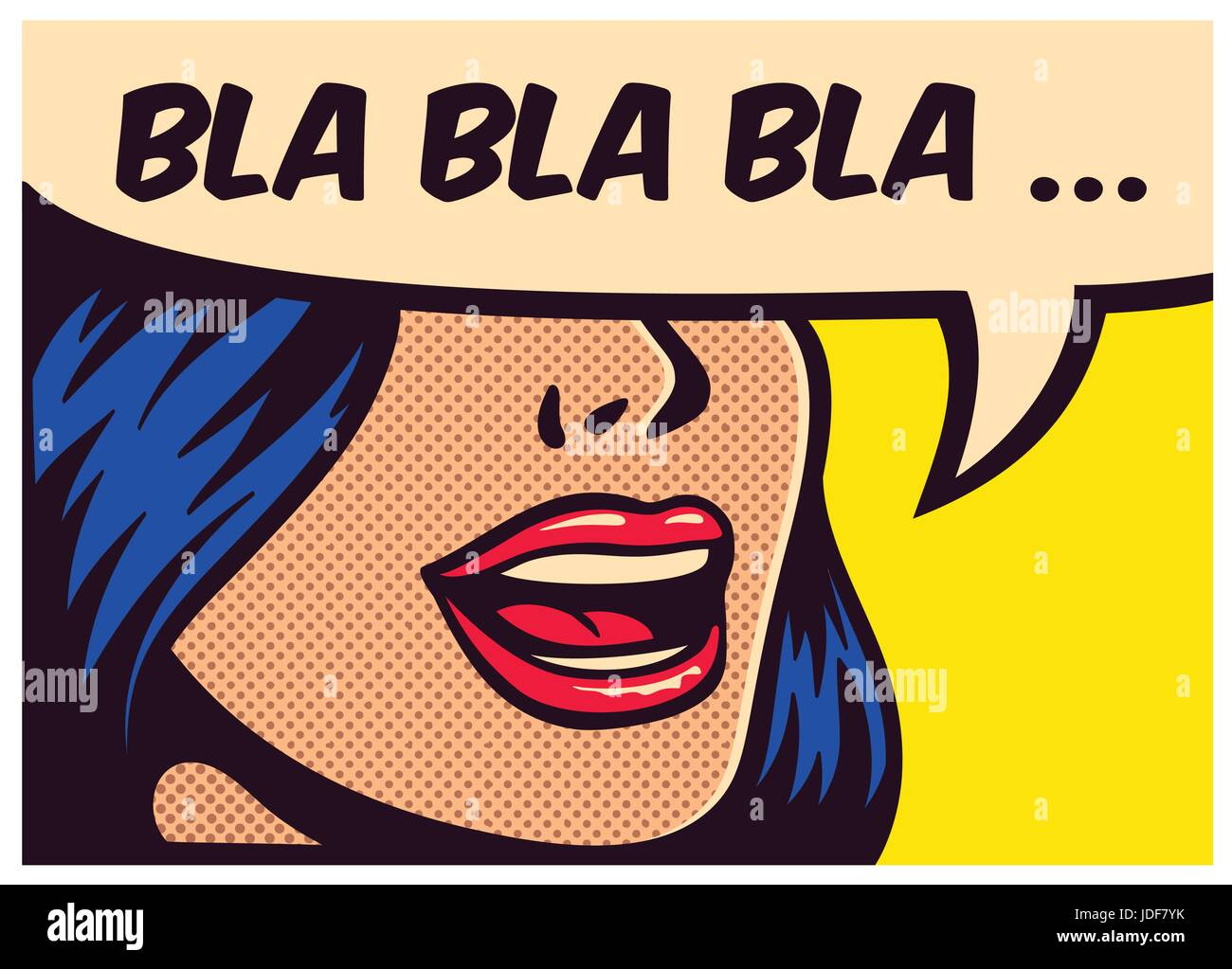 pop art style comic book panel with girl talking nonsense small talk stock vector art. Black Bedroom Furniture Sets. Home Design Ideas