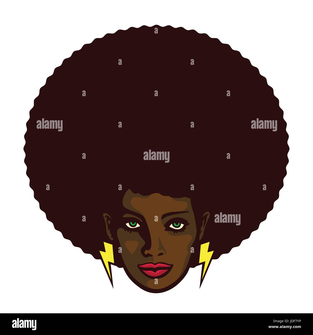 Black woman with afro hair and lightning bolt earrings vector illustration, determined groovy cool girl face - Stock Image