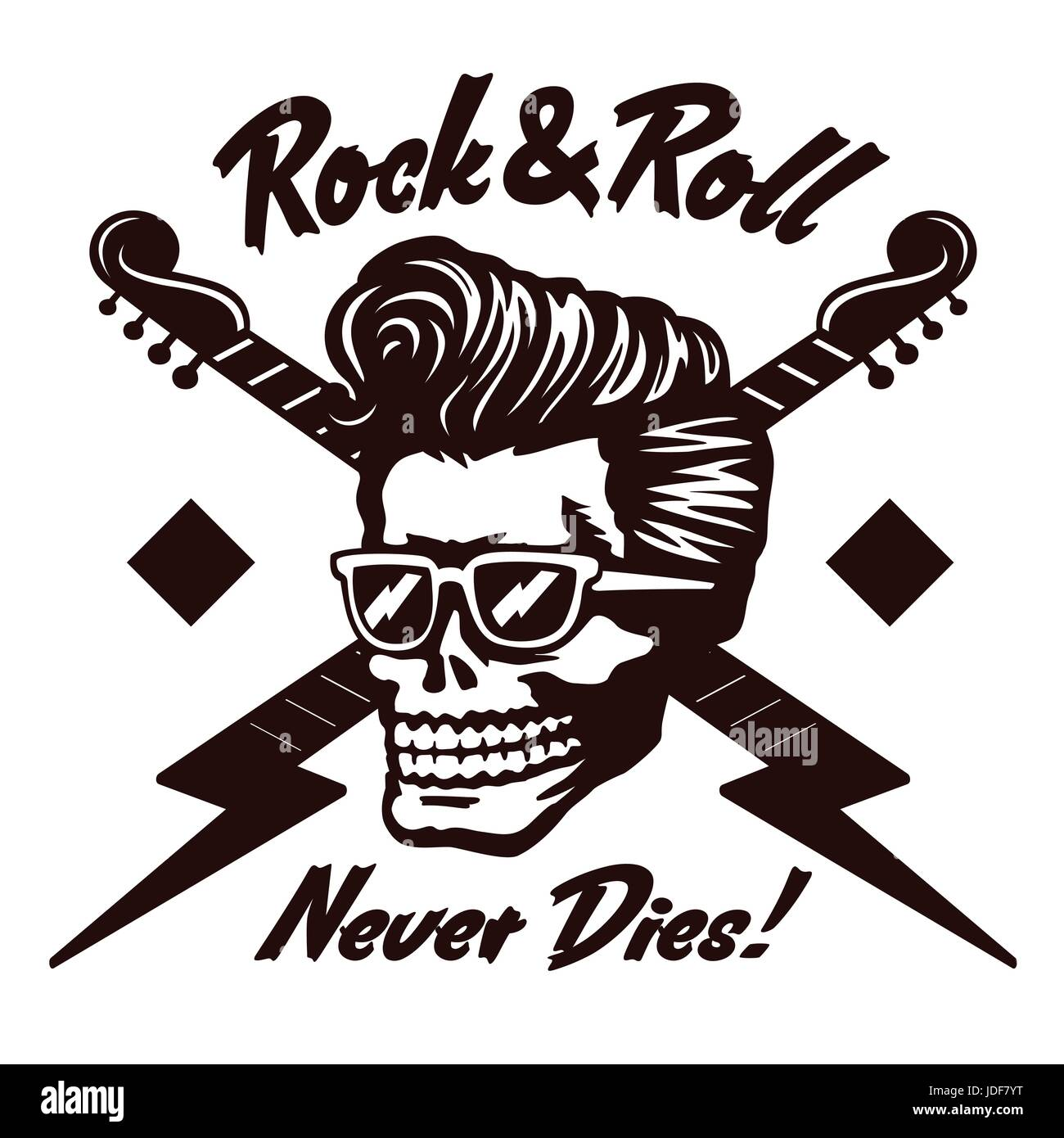 Rock'n'Roll never dies! Skull zombie head with rockabilly pomp hairstyle and sunglasses  vector illustration - Stock Image