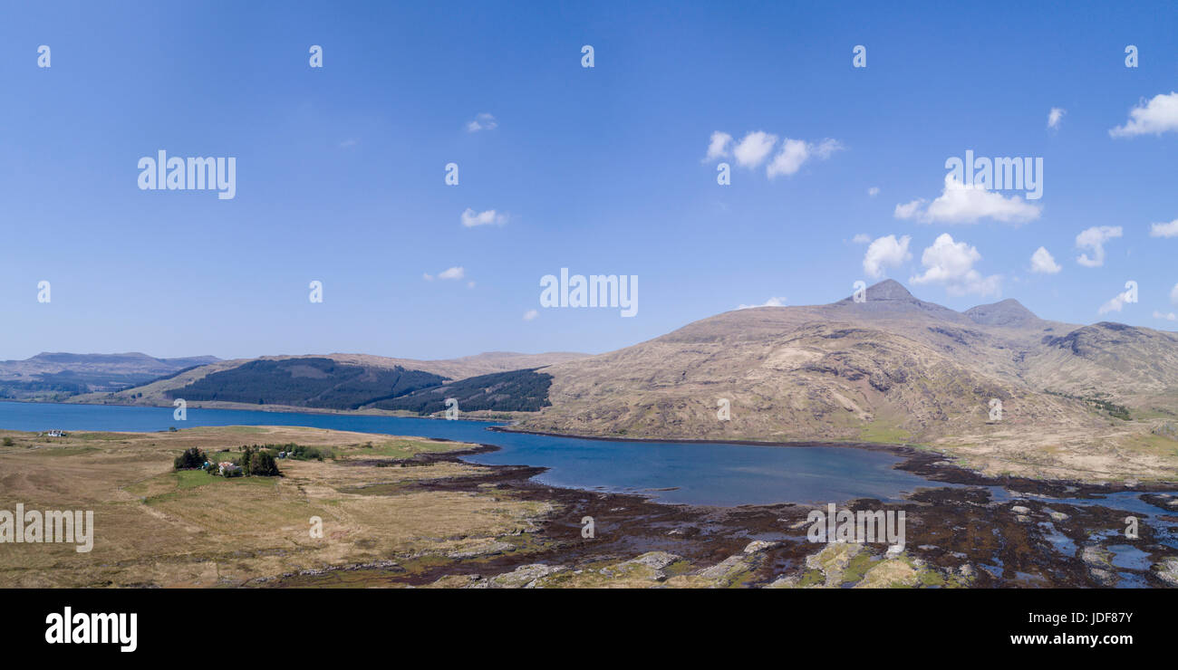 Aerial view of Loch Scridain, Isle of Mull, Inner Hebrides, Argyll and Bute - Stock Image