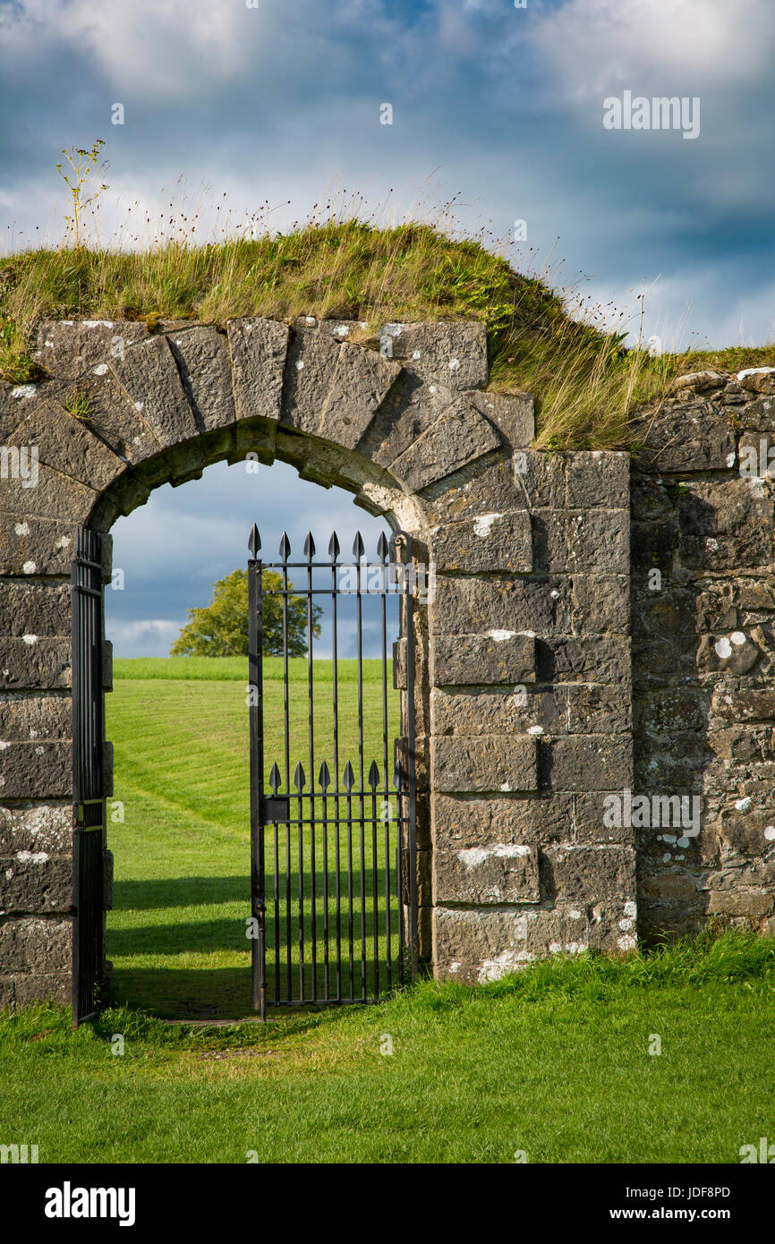 Iron gate at entry to ruins of old Crom Castle - Ancestral home to Lord Erne and the Crichton family, County Fermanagh, - Stock Image