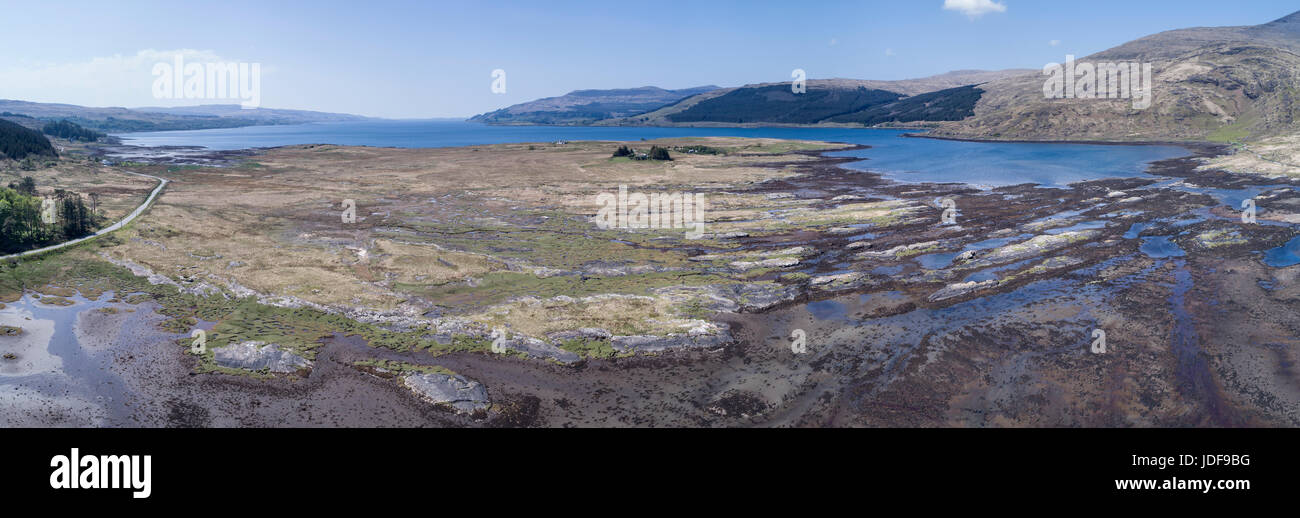 Aerial view of Loch Scridain, Loch Beg, Isle of Mull, Inner Hebrides, Argyll and Bute - Stock Image