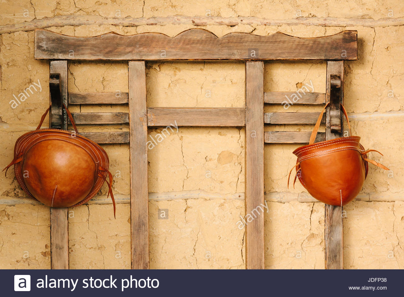 33cb479931f Traditional leather hats from northeastern Brazil hanging in hat rack -  Stock Image