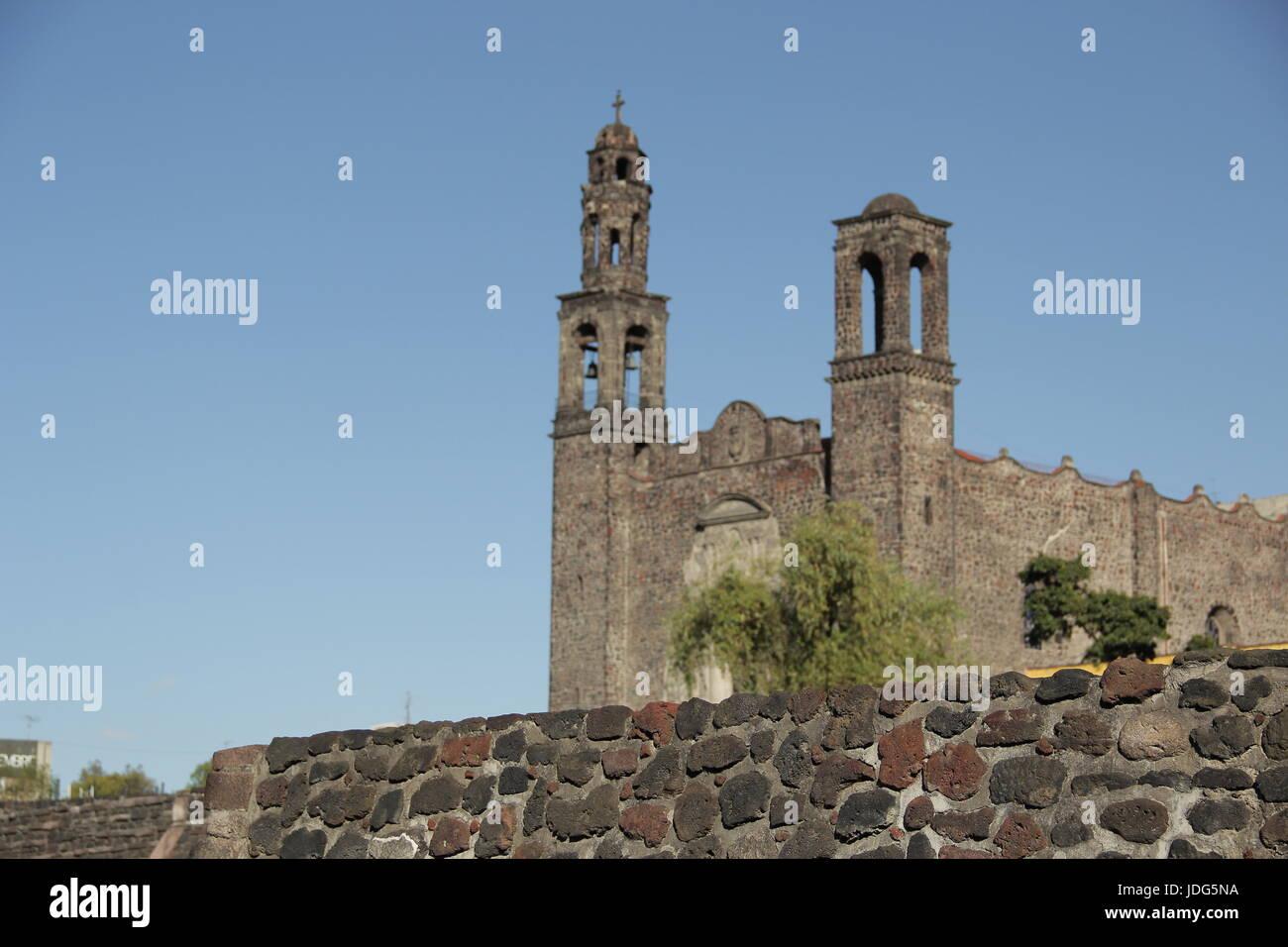 Square of the three cultures. Tlatelolco. Plaze de tres culturas. - Stock Image