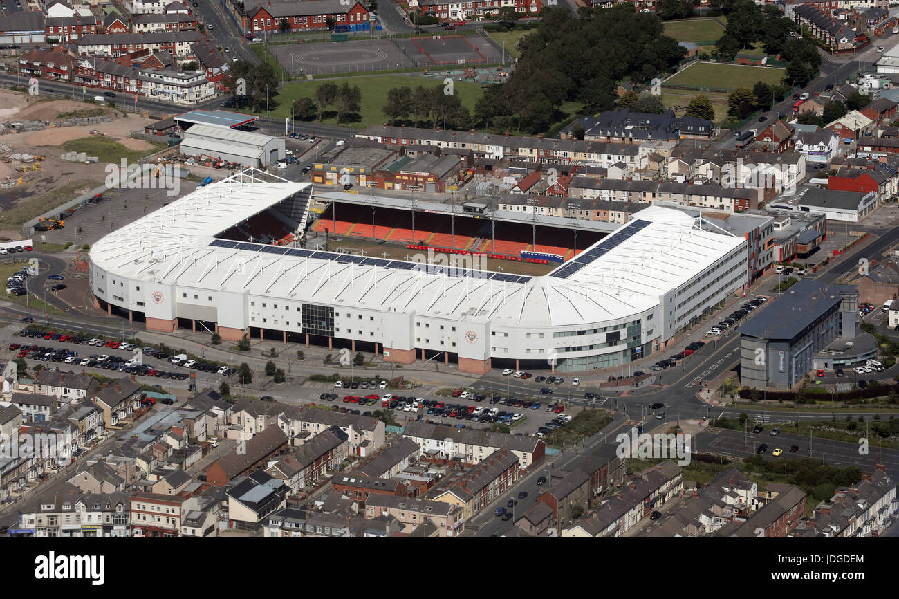 aerial view of Blackpool FC Bloomfield Road football ground, UK - Stock Image