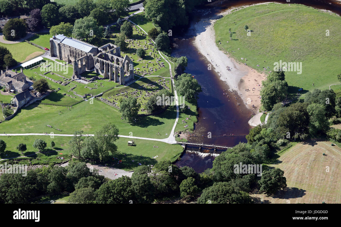 aerial view of Bolton Abbey (or Bolton Priory) & River Wharfe, near Skipton, Yorkshire, UK Stock Photo