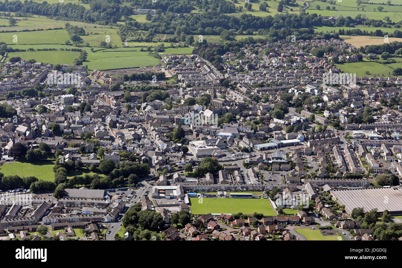 aerial view of the Lancashire town of Clitheroe, UK - Stock Image