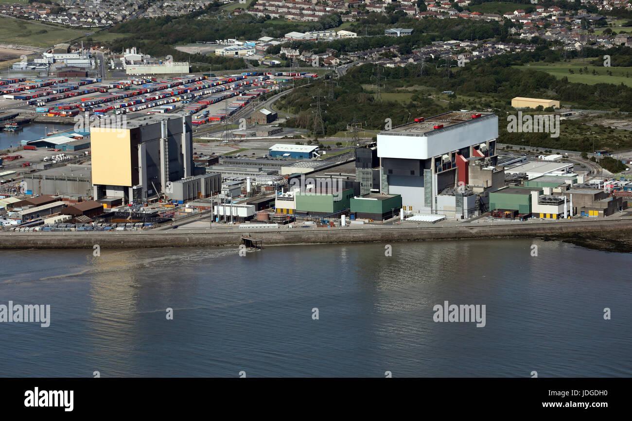 aerial view of Heysham nuclear power station, Lancashire, UK - Stock Image
