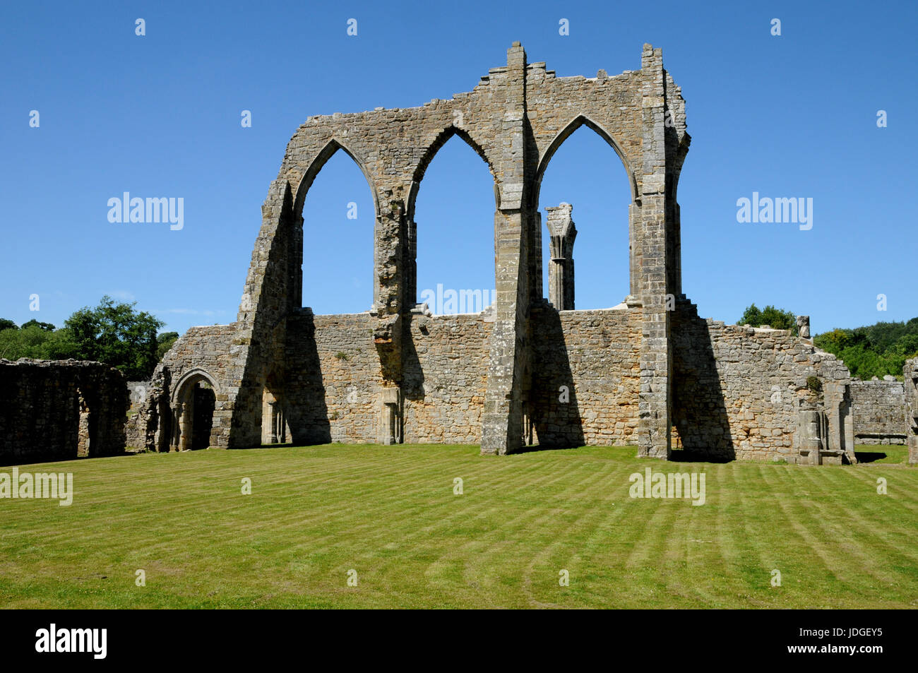 The ruins of Bayham Abbey on the Kent and ast Sussex border in the South of England. The Abbey was one of many that - Stock Image