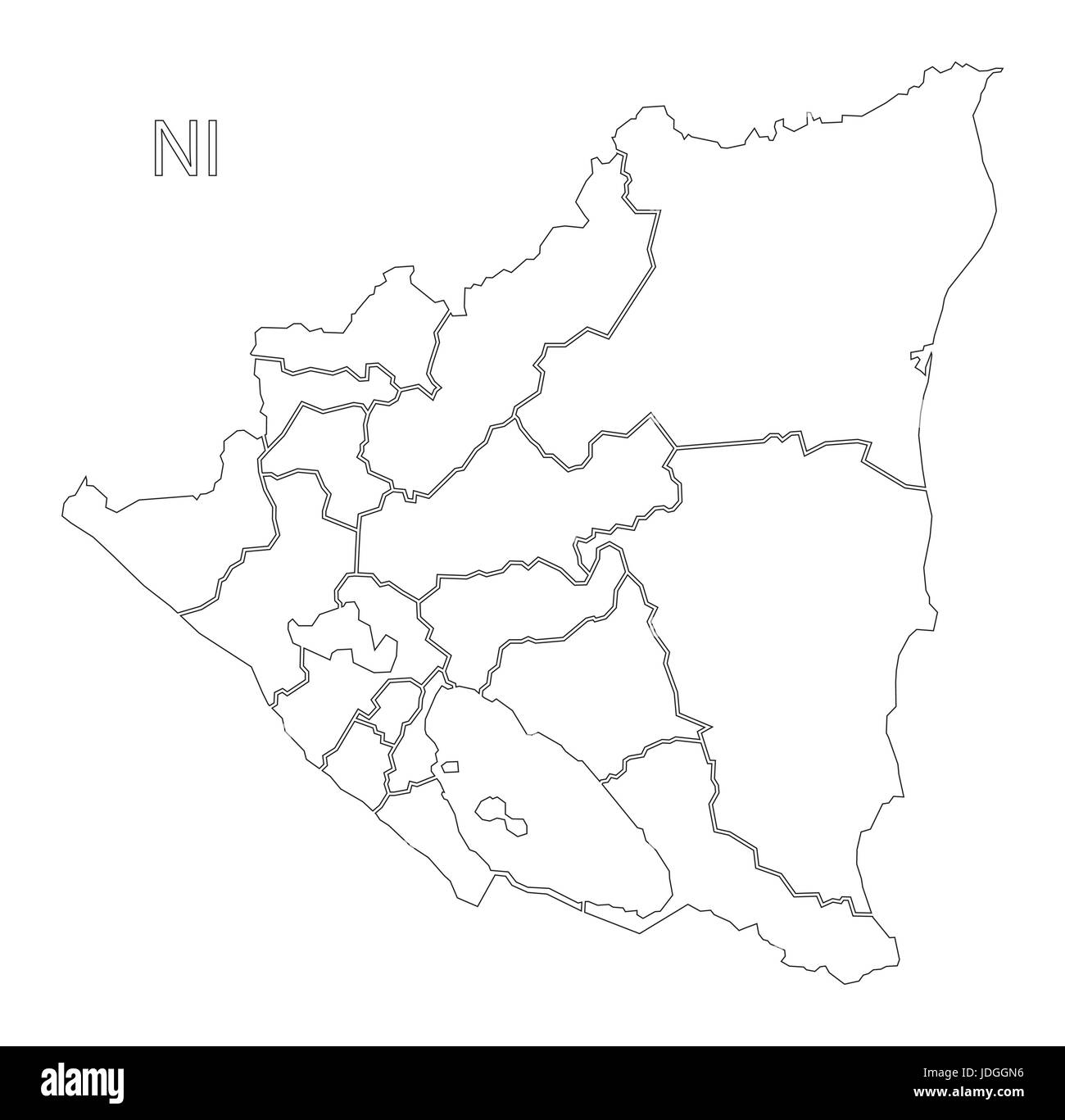 Nicaragua regions outline silhouette map illustration with black