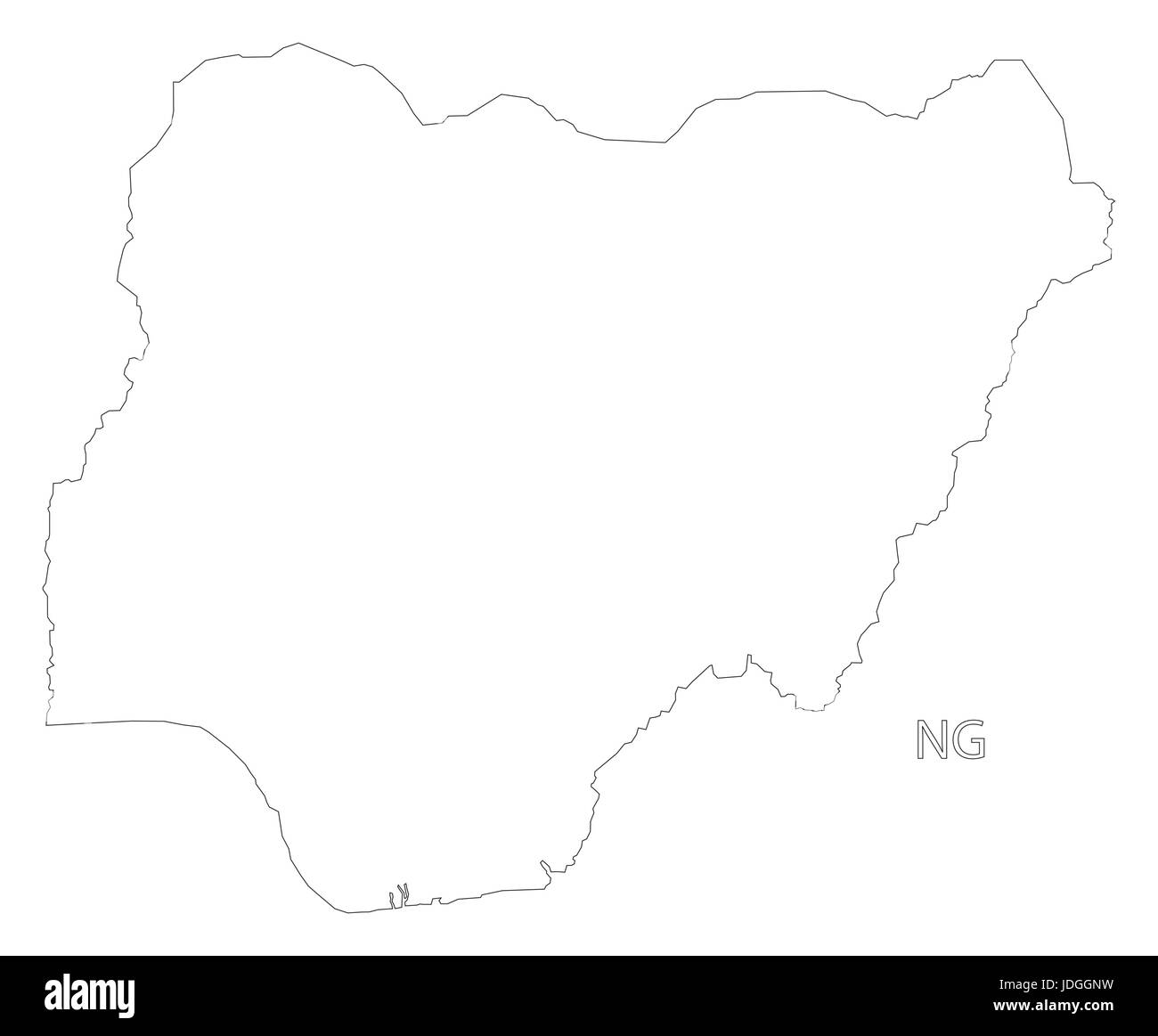 Nigeria outline silhouette map illustration with black shape - Stock Image
