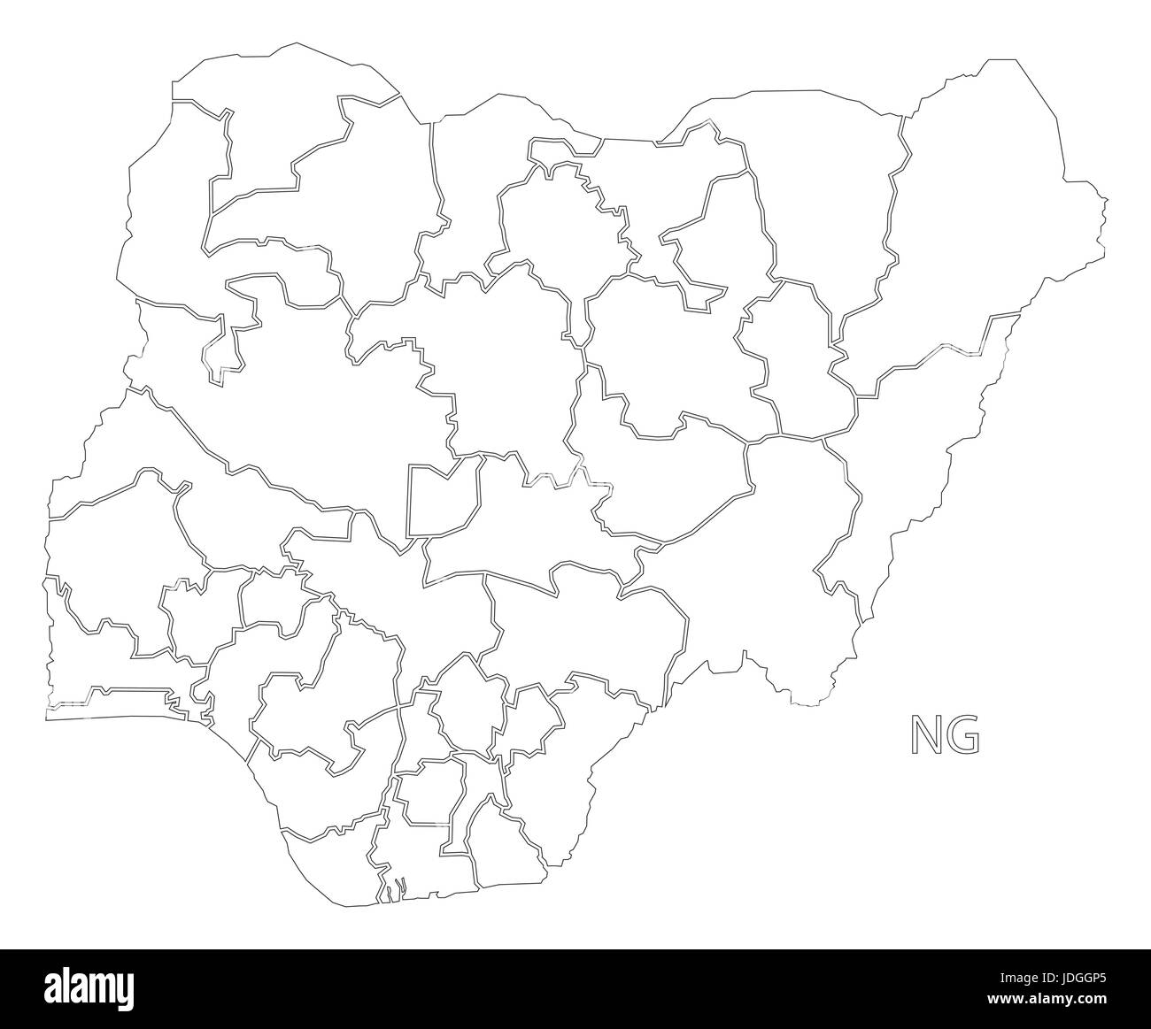Nigeria provinces outline silhouette map illustration with black shape - Stock Image
