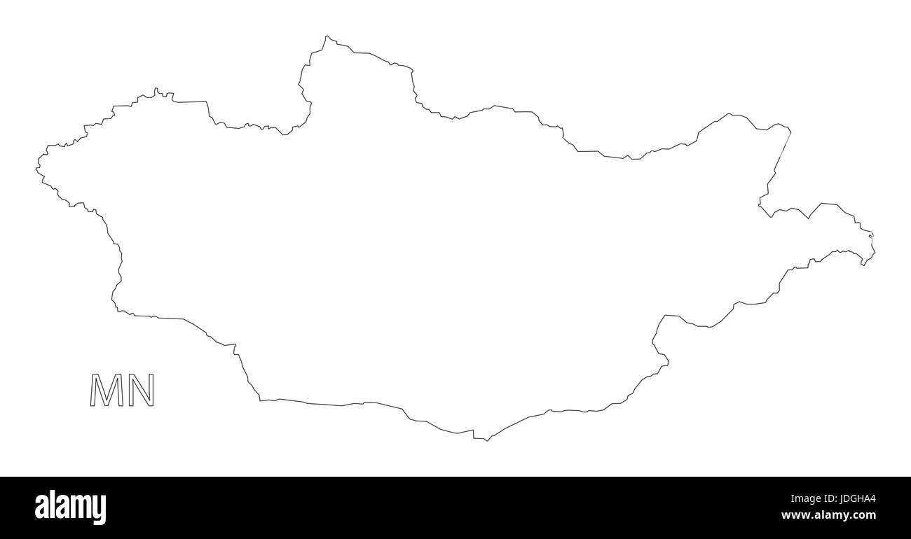 Mongolia outline silhouette map illustration with black shape - Stock Vector