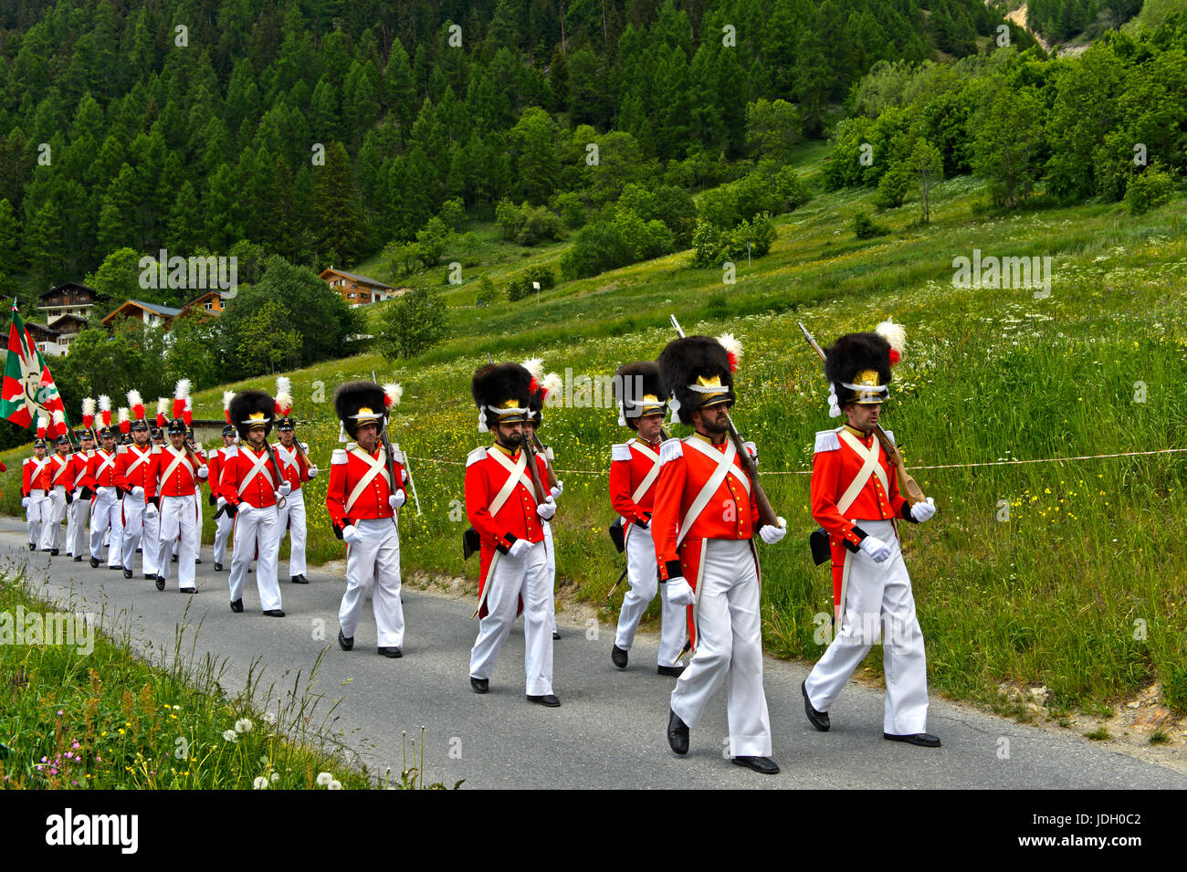 Grenadiers of Our Lord at the Corpus Christi procession, Wiler, Lötschental, Valais, Switzerland - Stock Image