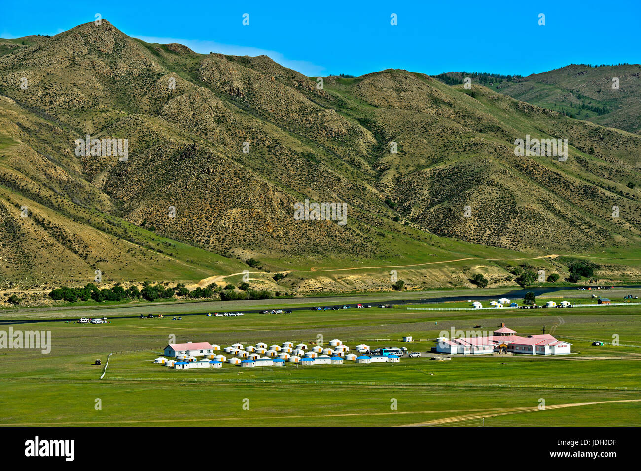 Ger camp for tourists in the Orkhon Valley near Kharkhorin, Mongolia - Stock Image