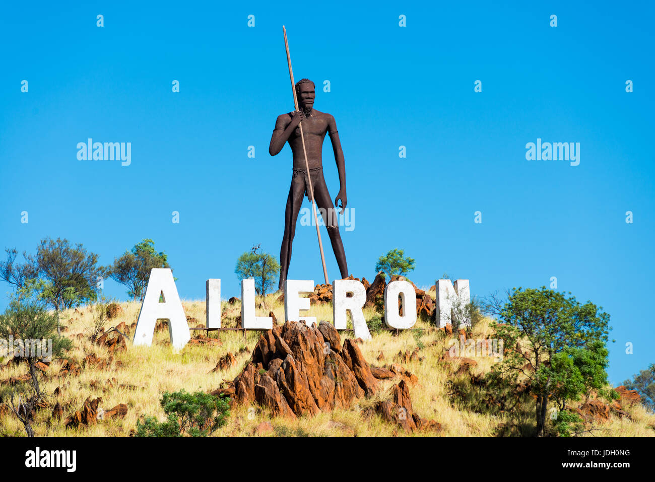 Huge iron sculpture of an aboriginal man at Aileron off the Stuart Highway north of Alice Springs, Northern Territory, Stock Photo