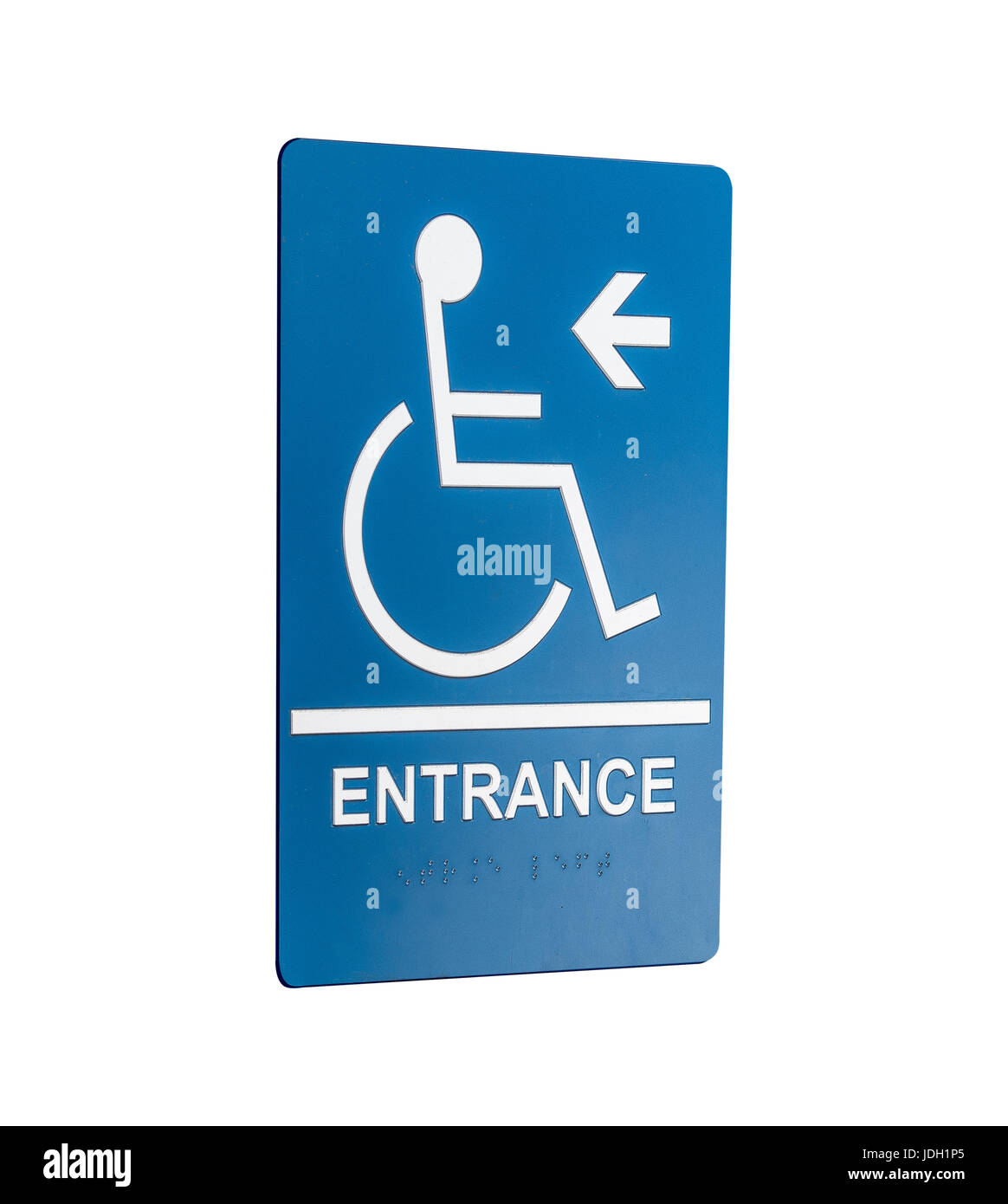 wheelchair entrance sign in a angle - Stock Image