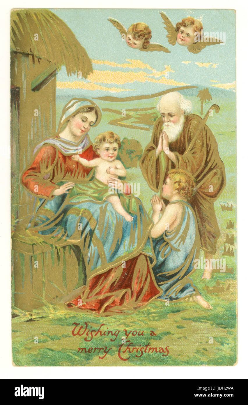 Edwardian Christmas greetings postcard of Nativity scene, circa 1905, U.K. - Stock Image