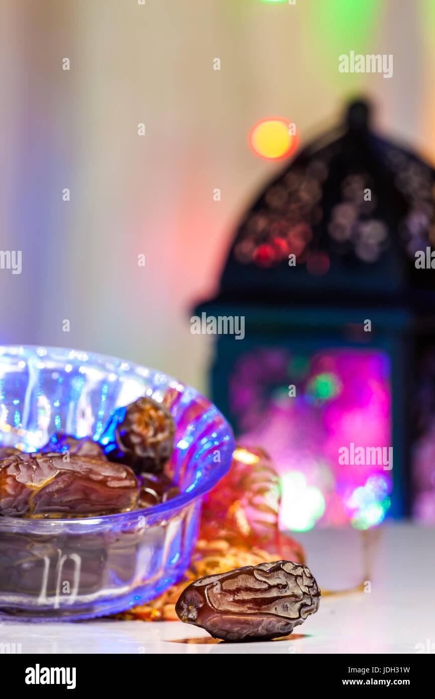 Date fruits . Ramadan, Eid concept background - Stock Image