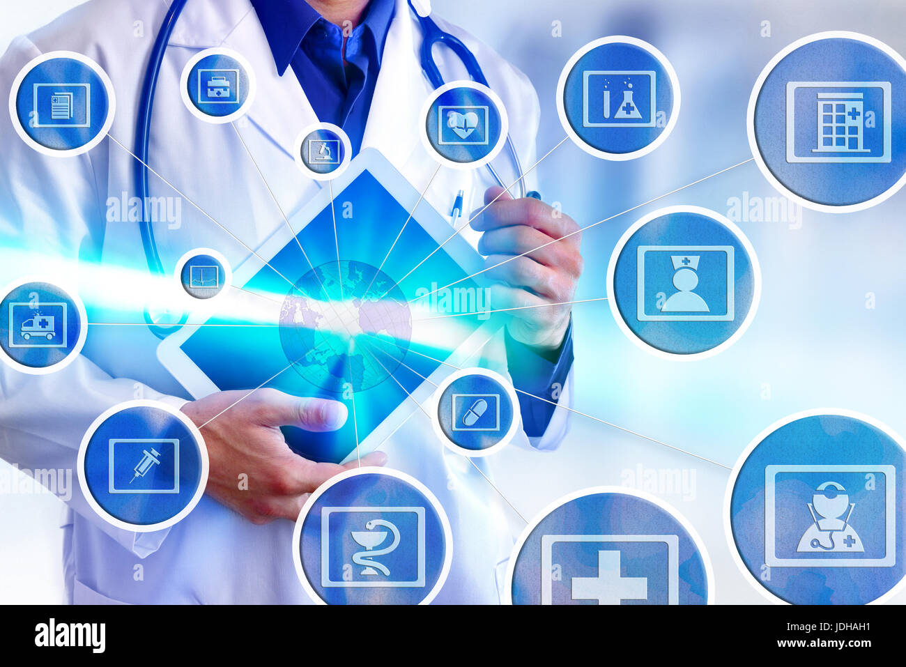 Representation communication fields of medicine and globalization online with doctor picking up white tablet - Stock Image