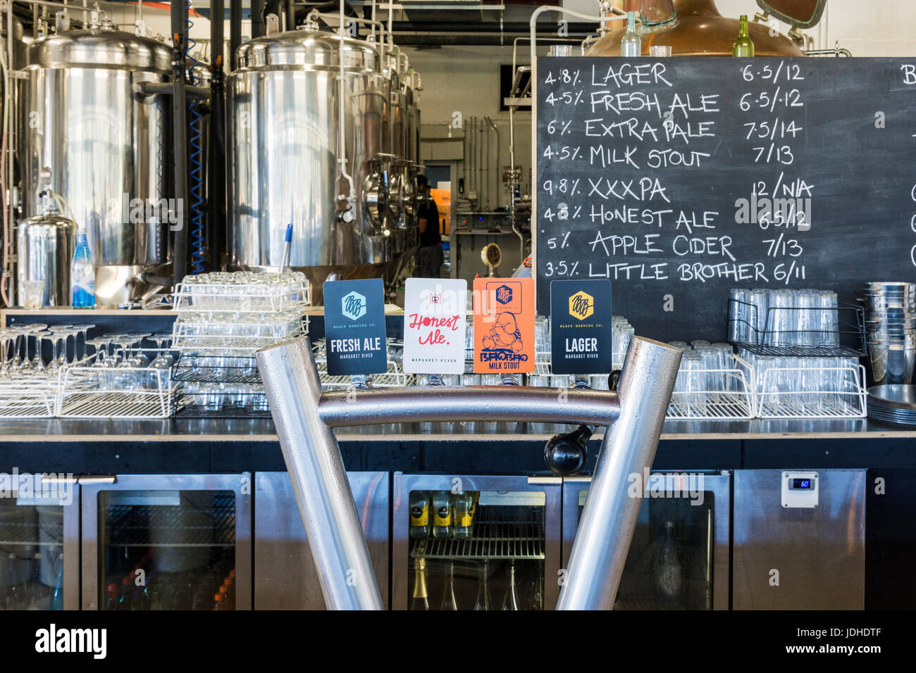 Beer taps and brewery at the Black Brewing Co. Wilyabrup, Margaret River, Western Australia - Stock Image