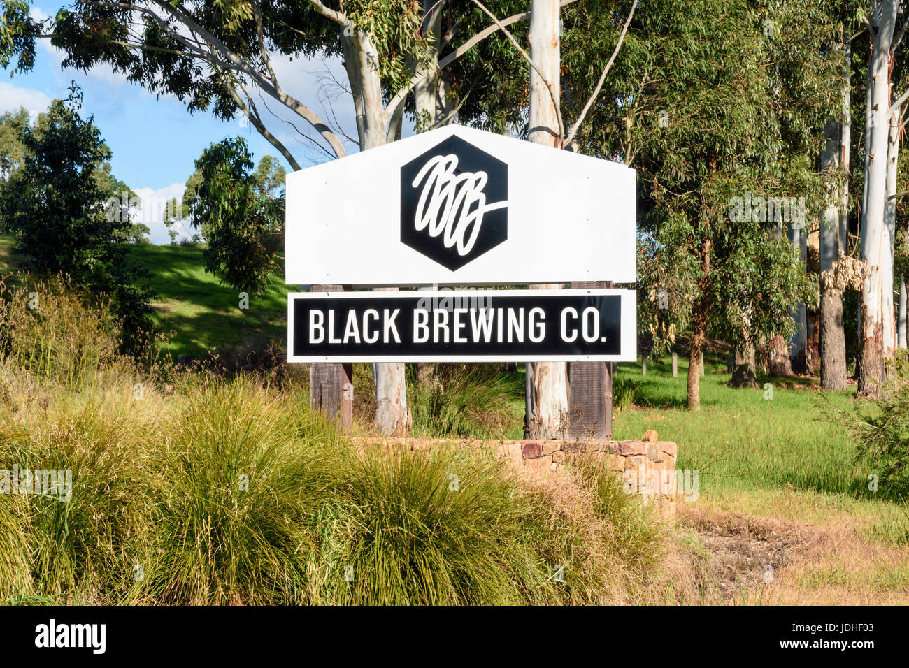 The brewery, Black Brewing Co. sign, on Caves Rd, Wilyabrup, Margaret River, Western Australia - Stock Image