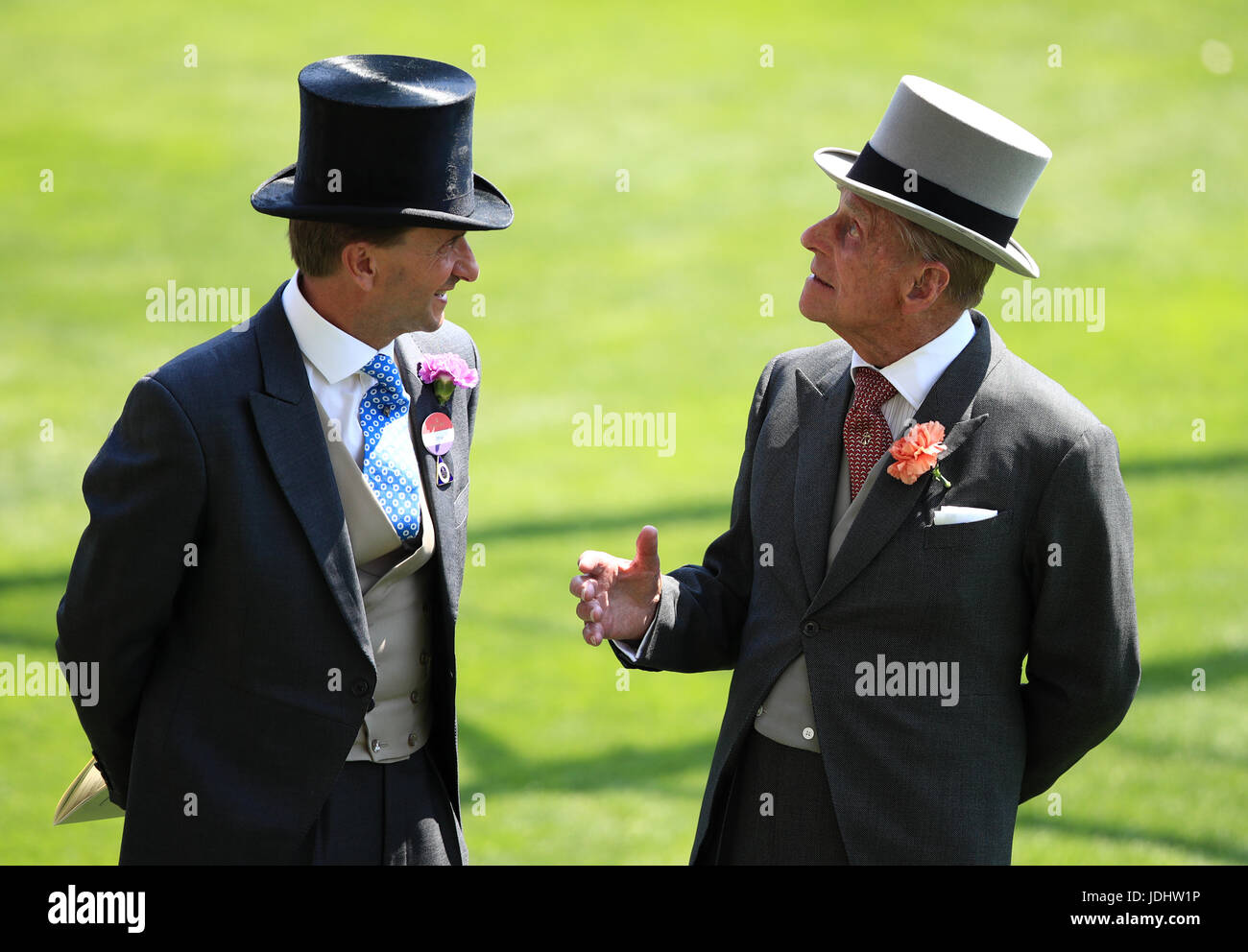 Ascot Chairman Johnny Weatherby (left) with Prince Philip during day one of Royal Ascot at Ascot Racecourse. - Stock Image