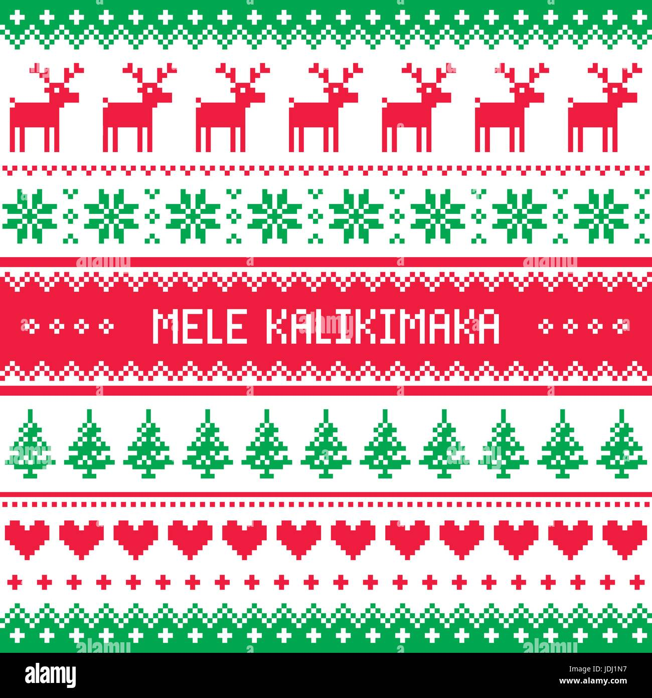 Mele Kalikimaka - Merry Christmas in Hawaiian greetings card Stock ...