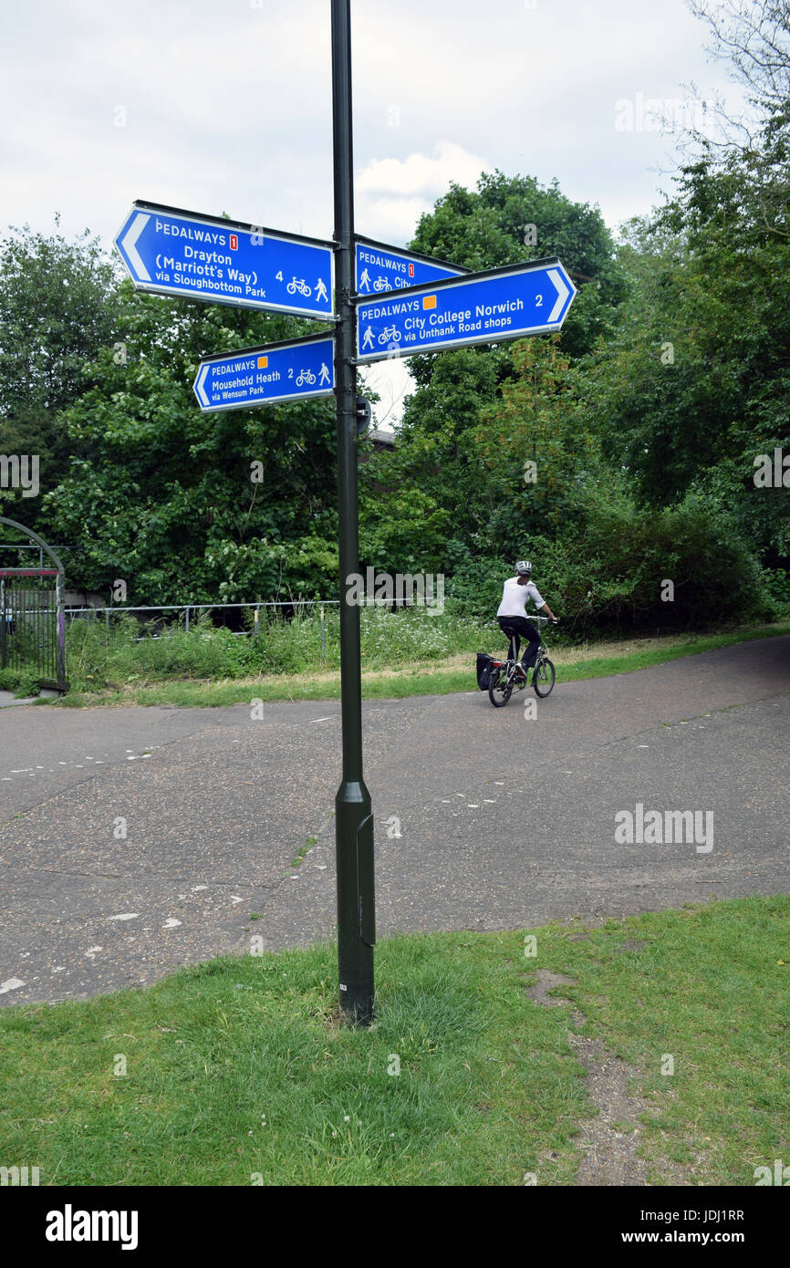 Marriot's Way (cycle path) & pedalways signs, Wensum Park, Norwich UK - Stock Image