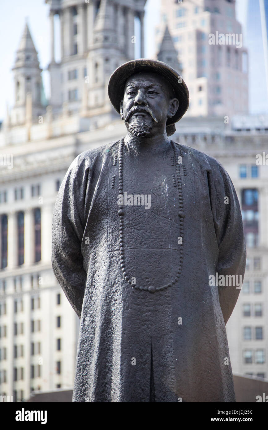 Statue of Lin Ze Xu chinese Ching Dynasty pioneered fight against drugs, Chatam Square, Chinatown, New York Stock Photo
