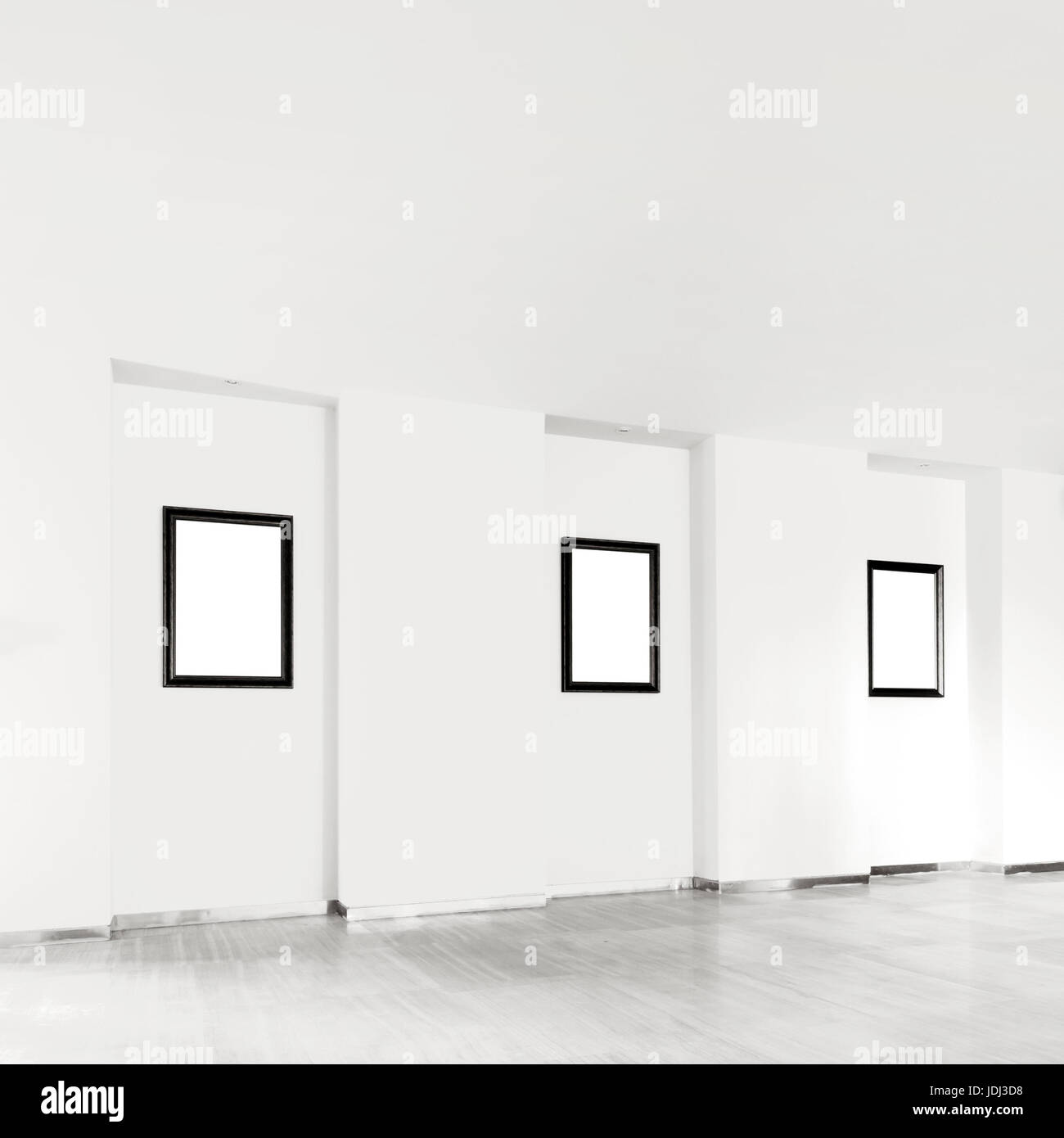 Gallery Interior with empty frames on wall Stock Photo: 146071332 ...