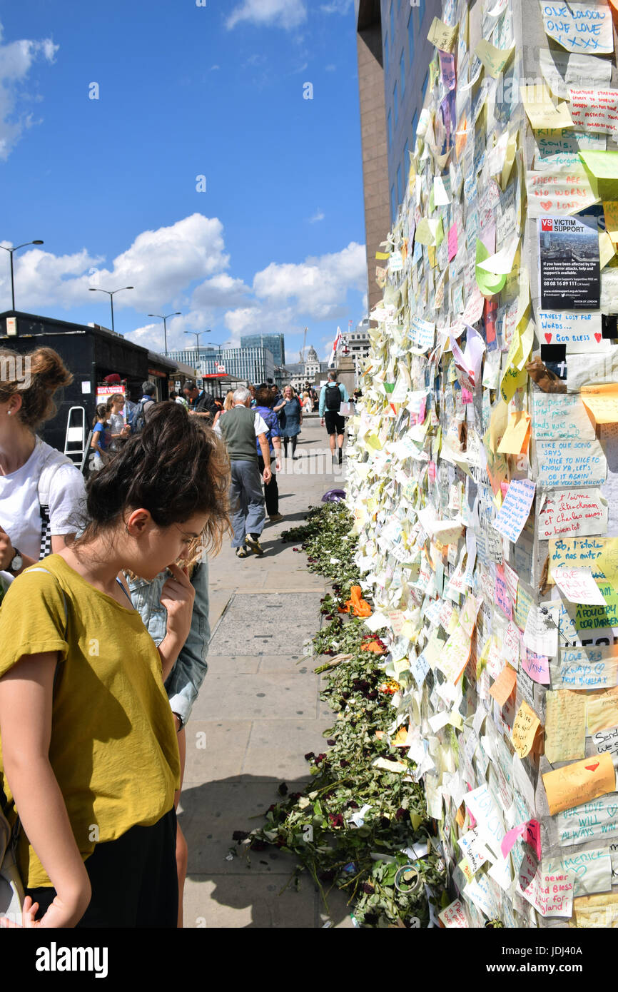 Tributes on London Bridge following the 3 June terrorist attack, London UK 2017 - Stock Image