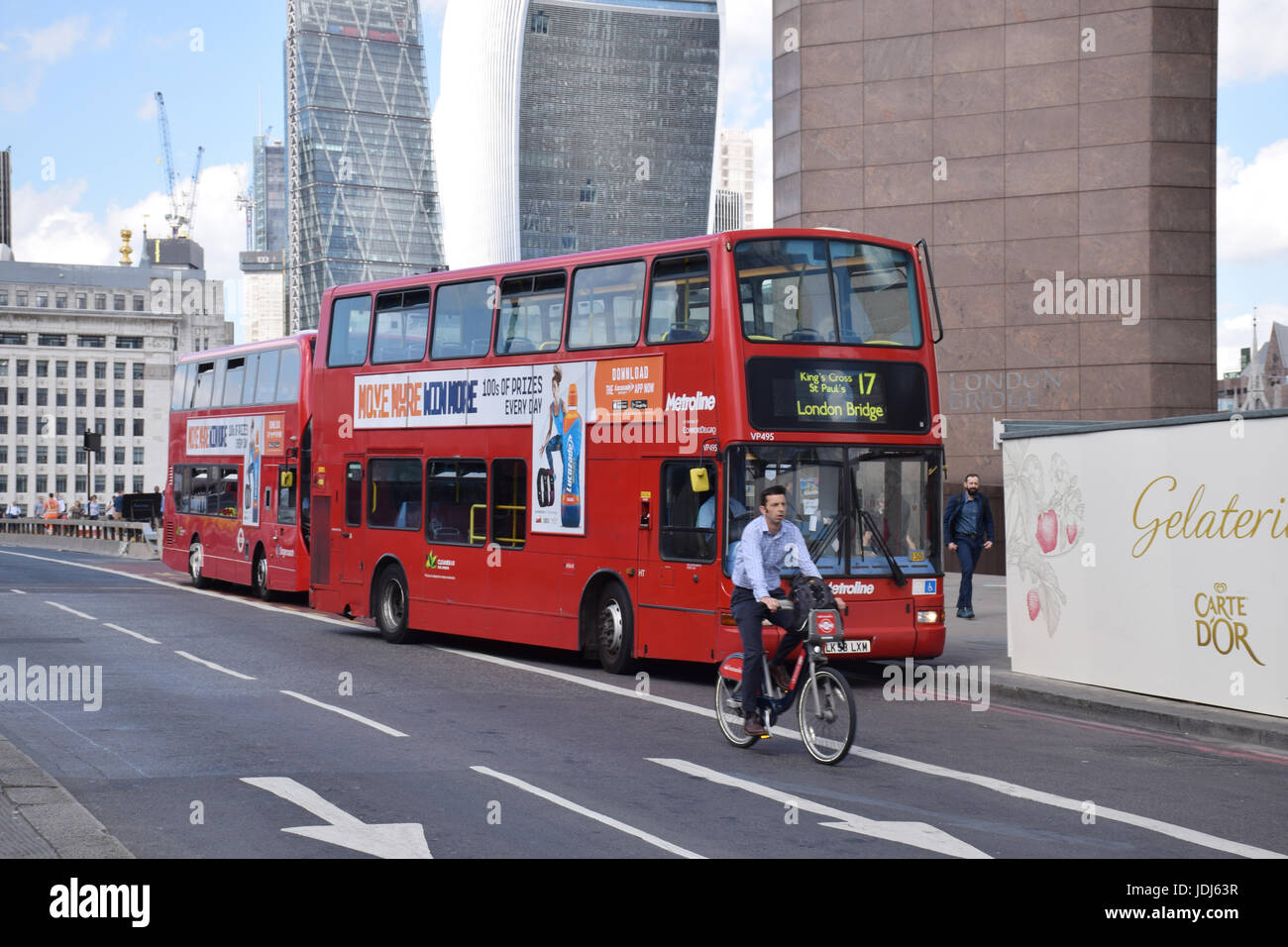 Traffic on London Bridge.  In the background: City of London - 20 Fenchurch Street (Walkie Talkie building) and Stock Photo