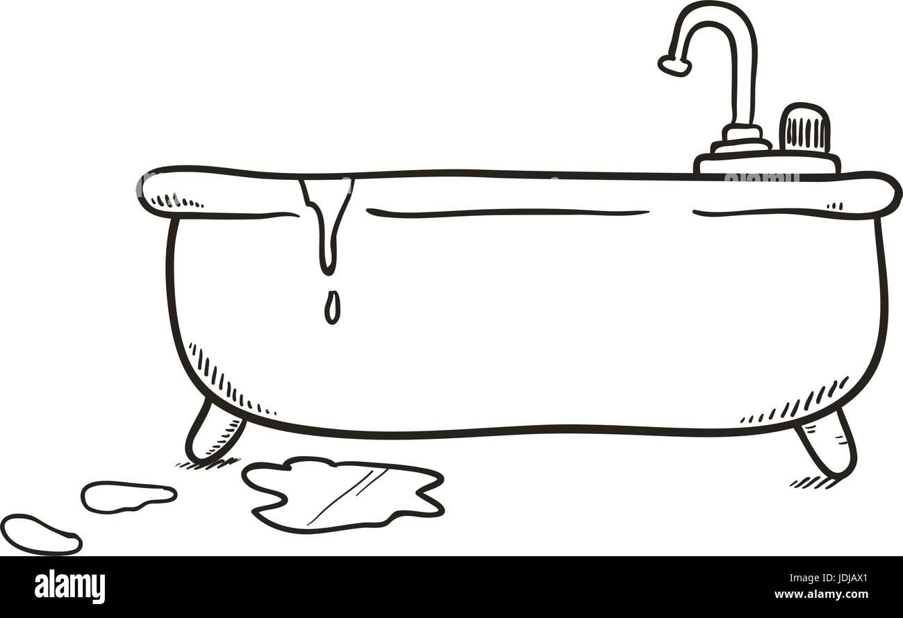 Bathroom Tub Draw Stock Vector Art Illustration Vector Image