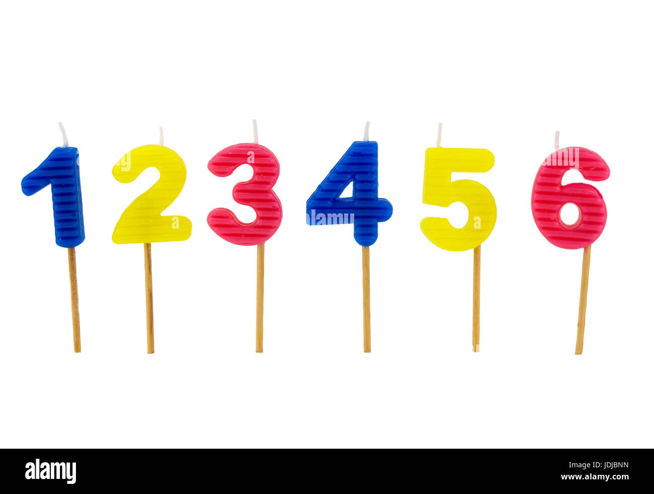Number birthday candles isolated on white background - Stock Image