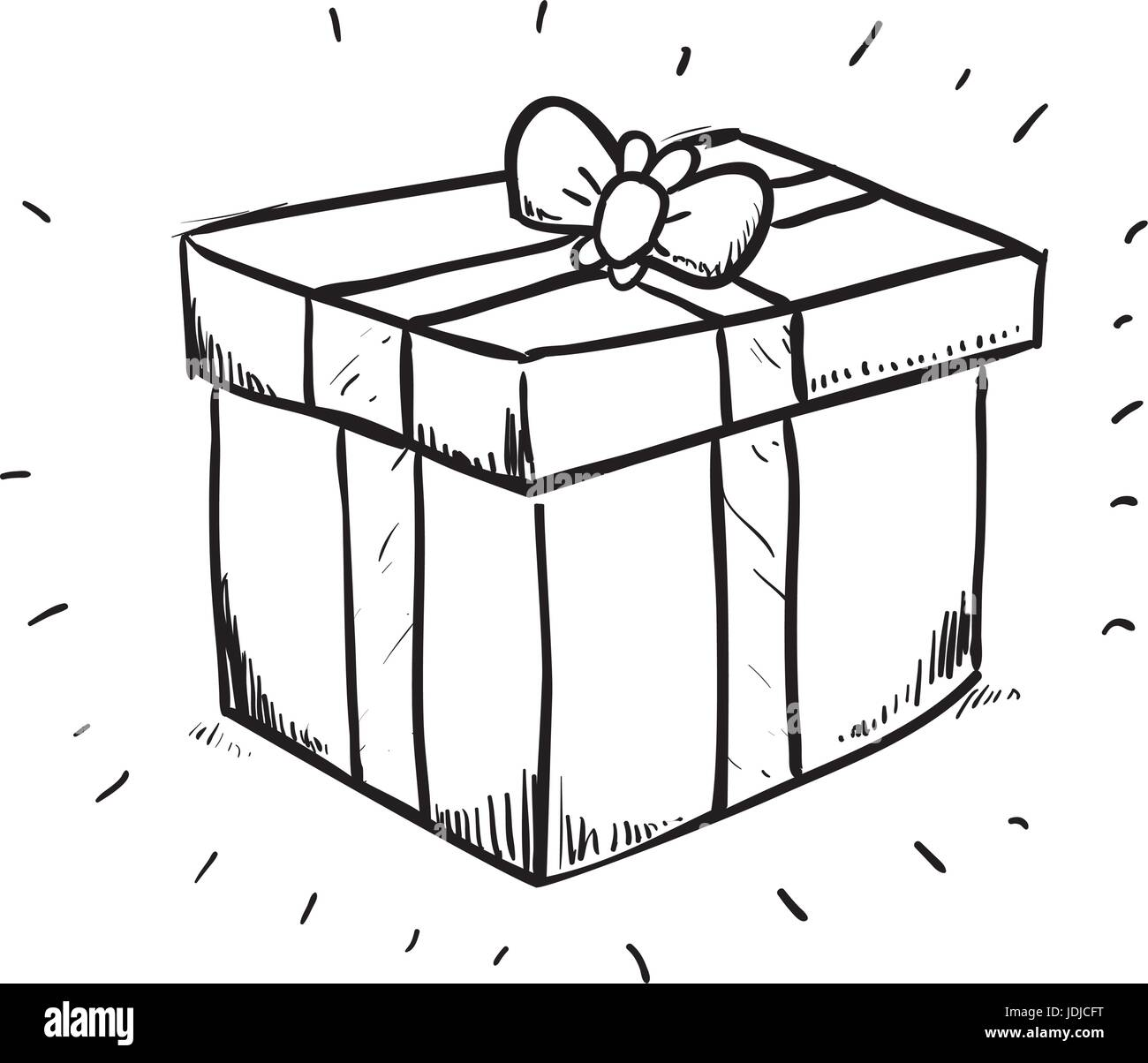 Gift Box Draw Stock Vector Art Illustration Vector Image