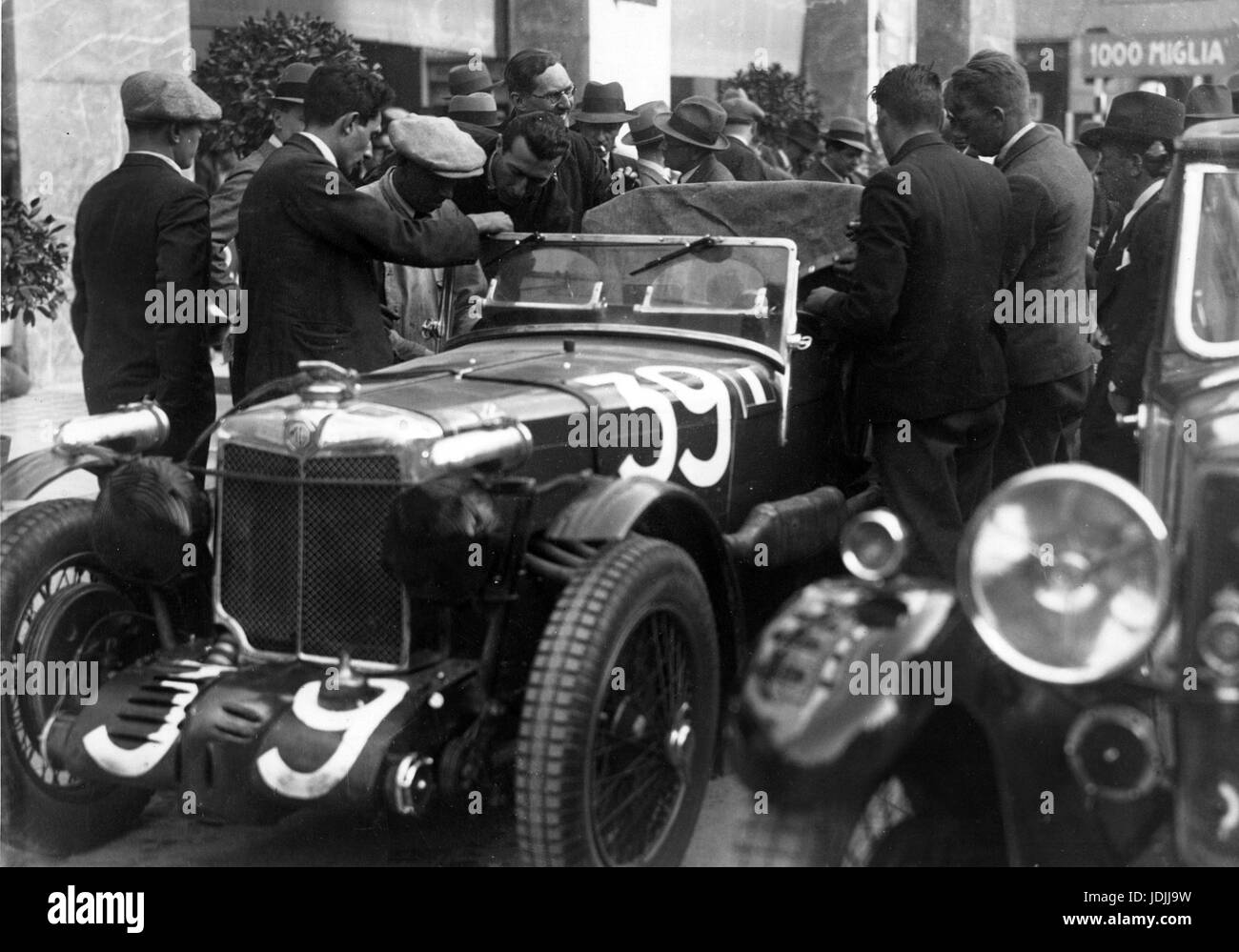 1933 MG K3 Magnette in Mille Miglia driven by George Eyston and Count Lurani, who won their class. - Stock Image