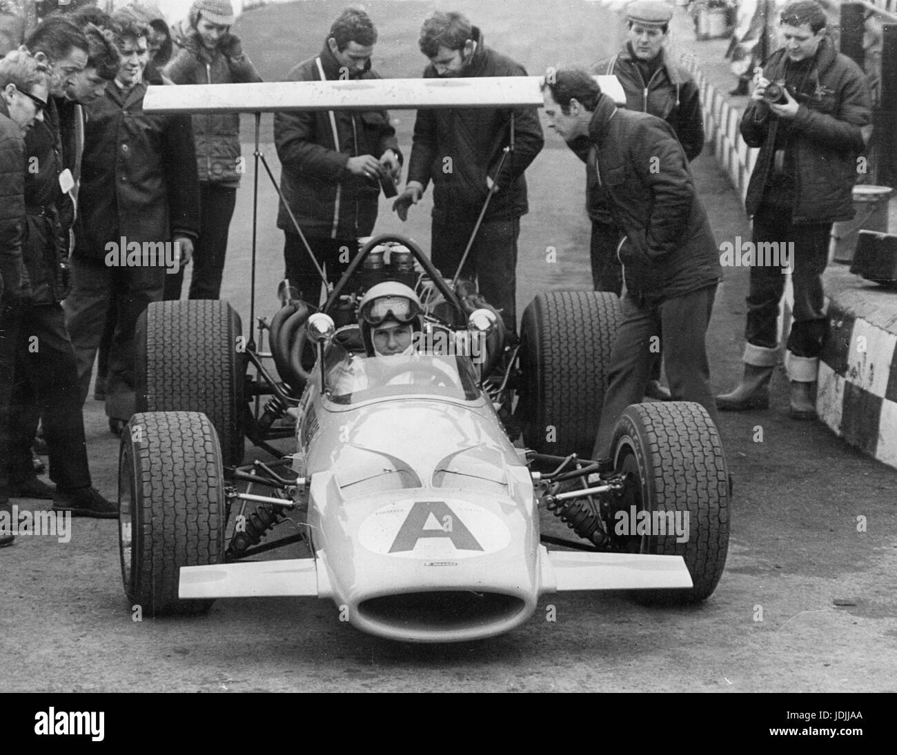 McLaren 10A prototype.Bruce McLaren in cockpit. This was an M7A Monocoque redesigned to accept 5 litre Bartz Chevrolet - Stock Image